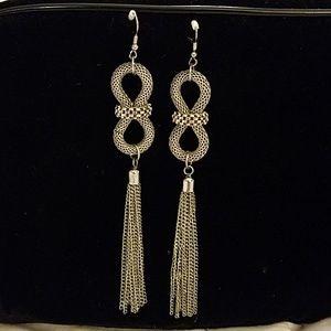 Extra long fringe stainless steel drop earrings